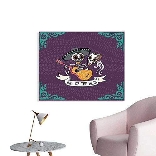 J Chief Sky Day of The Dead Custom Wall Decals Invitation to Traditional Celebration Party with Mexican Music Performance Poster for Boys Bedroom W24 xL20 ()