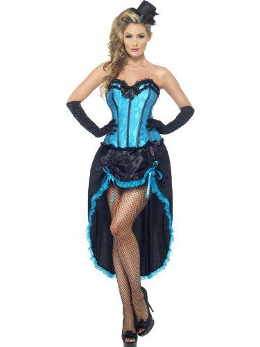 Smiffys Women's Burlesque Dancer Costume, Corset and Adjustable Skirt, 20's Razzle Dazzle, Serious Fun, Size 10-12, 22188 ()