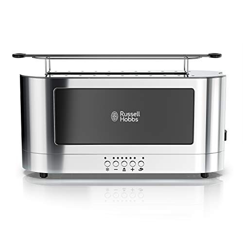 Russell Hobbs 2-Slice Glass Accent Long Toaster, Black & Stainless Steel, ()