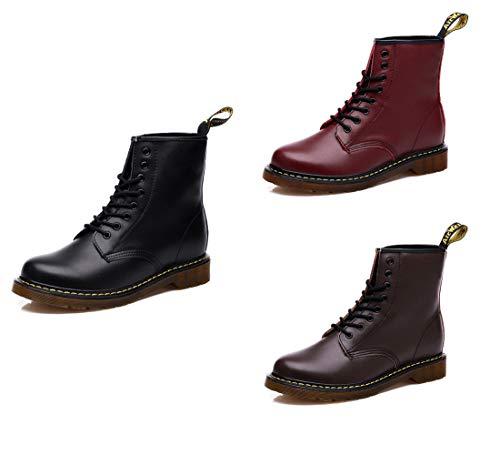 Moda Minetom Unisex Marrón Cuero Botas Mujer Peluche Calientes Plana B Forradas Zapatos De Pu Botines Felpa Boots Invierno Hombre Militares rqvRr