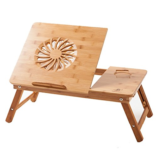 Laptop Desk Beaucoup Bamboo Adjustable Laptop Table 100% Bamboo with USB Fan Foldable Serving Bed Tray w' Drawer (Laptop Desk Fan compare prices)