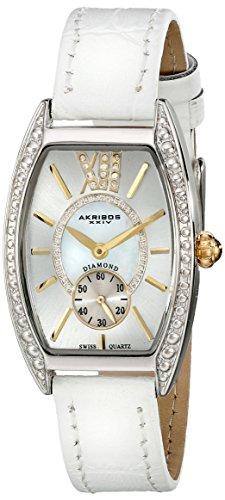 Akribos XXIV Women's AKR471WT Lady Diamond Collection Diamond Swiss Quartz Watch