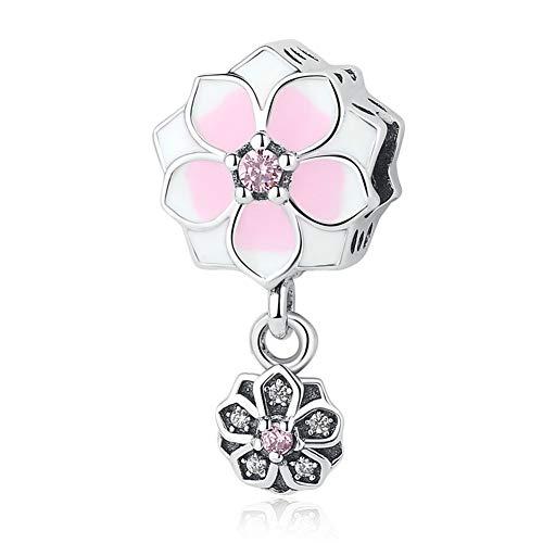 BAMOER 925 Sterling Silver Magnolia Bloom Pale Cerise Enamel Beads for Women Bracelet (Magnolia Bloom Charm 3)