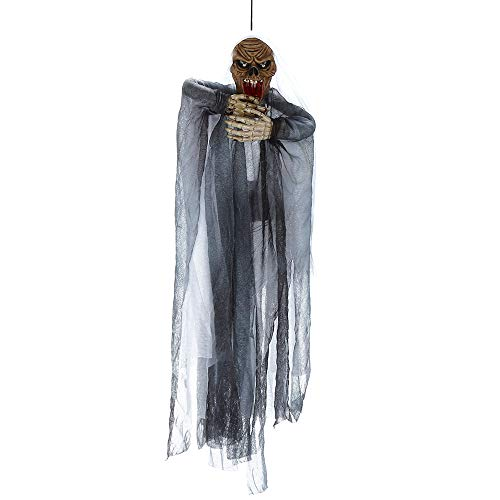 Pausseo Animated Hanging Grim Reaper Skull with Shackles Chains Best Halloween Decoration Prop Party Supplies Hanging Ghost Witch Voice Rot Light Eyes - Halloween Decoration Prop - 67 x 37 cm (A) -