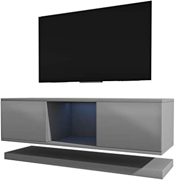 Wizz – Mesa Flotante para TV/Mueble TV Moderno (140 cm, Gris Mate/Frentes Grises en Brillo con Iluminación LED): Amazon.es: Electrónica