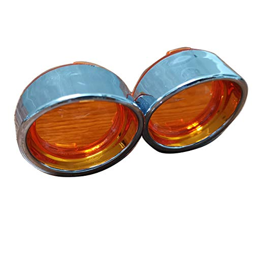 Yibid Amber Bullet Bulb Turn Signal Lens Chrome Trim Kit Bezels Ring Visor Covers for Harley Touring Dyna Sportster V-Rod Street Glide Road King Fatboy Softail XL883 XL1200