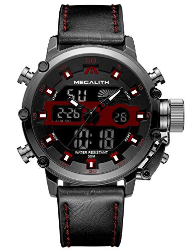 MEGALITH Mens Sports Watches Black Military Digital Gents Watch Leather Chronograph Waterproof Wrist Watches for Man with Led Light Analog Quartz Multifunction Cool Watches Alarm Stopwatch Calendar (Watch Leather Gents Black)