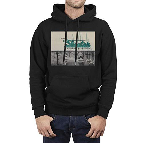 The History of Skeeter Boats Mens Black Hooded Sweatshirt Classic Kangaroo Pocket Wool Warm Pullover First Quality (Skeeter Sweatshirt)