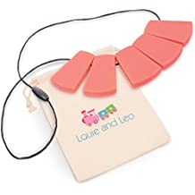 Louie and Leo Big Block Silicone Teething Necklace for Mom (CORAL)