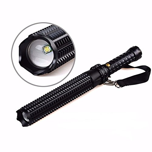 Tactical Elite Heavy Duty Outdoor Survival Expandable Retractable Adjustable Telescopic Rechargeable Baton Long Range Bright LED Combo Window Breaking Flashlight (Usb Charger and Battery Set Included) by JD Secure