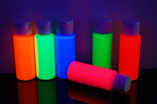 DirectGlow 2oz UV Blacklight Reactive Fluorescent Acrylic Paints (6 Color Neon Assortment) -