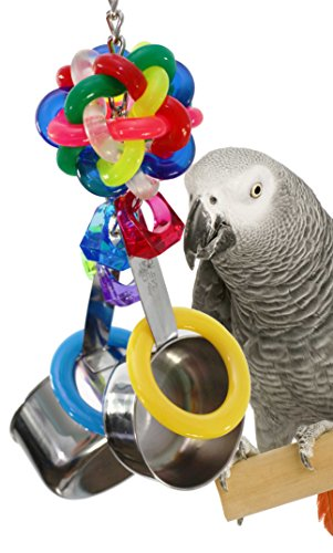 Bonka Bird Toys 1595 Pot Ring Parrot Cage Toy Cages African Grey Conure Macaw Large Amazon Parrots Birds Foraging Cockatoo Spoons