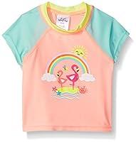 Swim Time Girls' Little Colorblock UPF 50+ Short Sleeve Rashguard, Coral Rainbow, Small