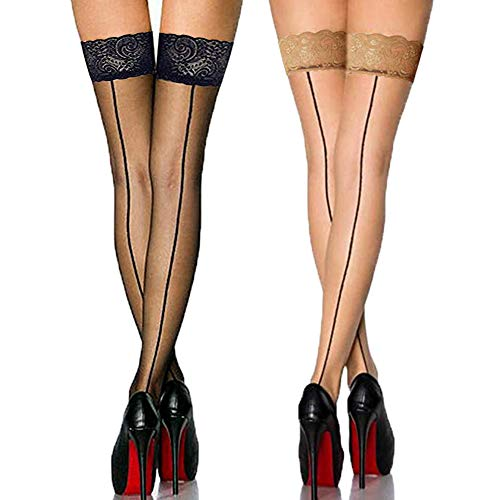 Back Seam Pantyhose Stockings - Vintage Nylon Lace Top Thigh High Stockings with Back Seam for Women Suspender Garter Belts,(2 Pack)