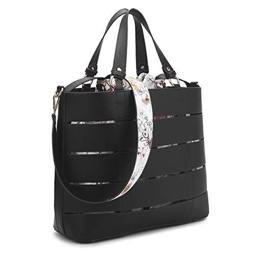 Drawstring Shoulder Floral Bag (2Pcs Women Large Tote Handbag Top Handle Purses Floral Shoulder Bag Fashion Satchel (7359-Plain black))