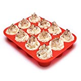 IPEC THERAPY 12 Cup Muffin Cupcake Baking Pan/Non - Stick Silicone Mold/Dishwasher - Microwave Safe, Red