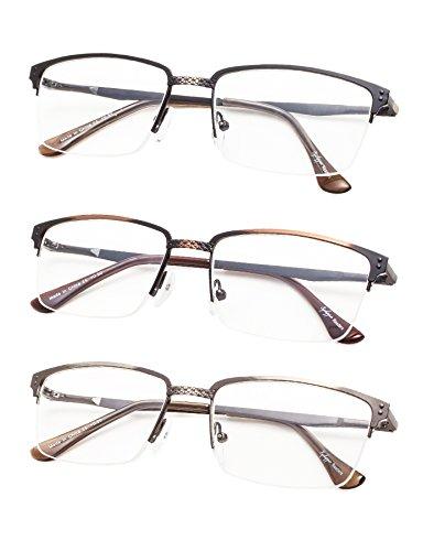 3-Pack Half-rim Brushed Metal Reading Glasses with Spring Hings
