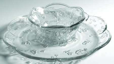 Anchor Hocking Savannah Chip and Dip Set (Turn Upside Down for Cake / Dessert Platter) ~ Clear Glass Floral Pattern ~ 2 Piece Set: 12 Inch Platter and 6.25 Inch Bowl