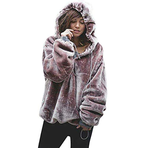 Sunward Womens Oversized Warm Fuzzy Hoodies Casual Loose Pullover Hooded Sweatshirt Outwear (L, ()