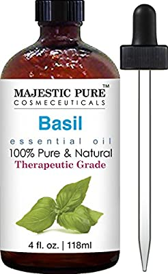 Majestic Pure Basil Oil, Therapeutic Grade, Pure and Natural Basil Essential Oil, 4 fl. oz. from Majestic Pure