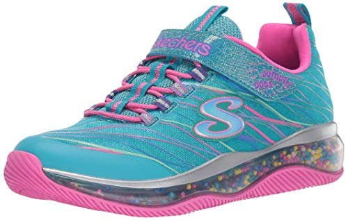 Turquoise Dot - Skechers Kids Girls' Skech-AIR JUMPIN'DOTS Sneaker, Turquoise/Multi, 3 Medium US Little Kid