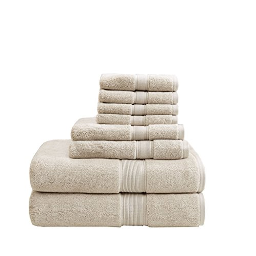 800GSM 100% Cotton Luxury Turkish Bath Towels , Highly Absorbent Long Oversized Linen Cotton Bath Towel Sets , 8-Piece Include 2 Bath Towels, 2 Hand Towels & 4 Wash Towels , Natural