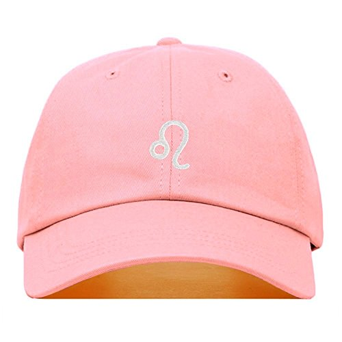 Leo Dad Hat, Embroidered Baseball Cap, 100% Cotton, Unstructured Low Profile, Adjustable Strap Back, 6 Panel, One Size Fits Most (Multiple Colors) (Light Pink) ()