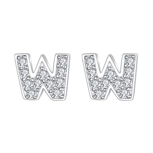 EVER FAITH Women's 925 Sterling Silver Cubic Zirconia Fashion Initial Alphabet Letter W Stud Earrings