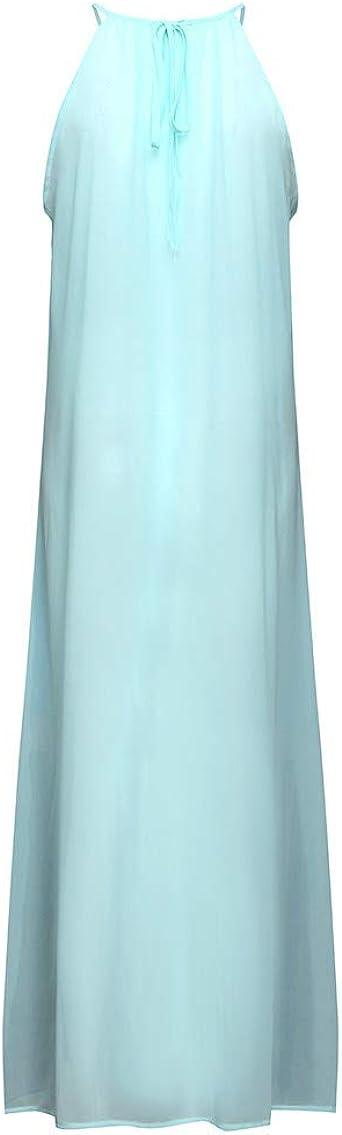 ReooLy Halter Rayas de Color Remiendo de la Mujer Espalda Plisada ...