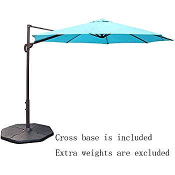 Le Papillon 10 Ft Cantilever Umbrella Outdoor Offset Patio Umbrella Easy  Open Lift 360 Degree Rotation, Blue