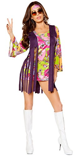 Dazed And Confused Costumes (Dazed and Confused Women's Hippie Halloween Costume - Purple/Multicolor - Small)