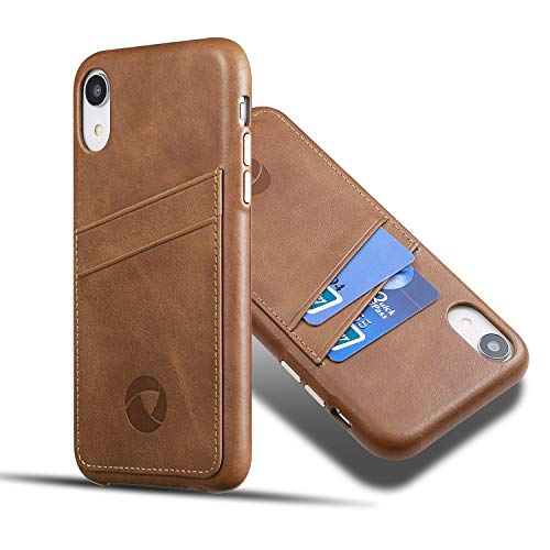 Luckycoin iPhone XR Leather Case Slim Cases Vintage Full Grain Leather with Protective Metal Buttons with Card Holder Compatible Apple 2018 New iPhone XR 6.1 Inches Dark Brown