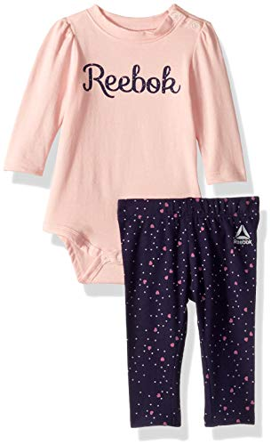 (Reebok Baby Girls 2 Piece Long Sleeve Creeper and Heart Print Leggings, Powder Pink 3-6 Months )