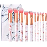 Makeup Brush set, HOME-MART Cosmetic Brush Foundation Brush Set Face Brush, Eye Shadow Brush, Lip Brush, Make Up Brush Set with Marble Cosmetic Bag (10 pieces)