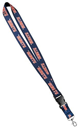 Illinois Buckle - Moose Pet Wear University of Illinois Lanyard - Blue - Satin Keychain Necklace, ID Badge Holder - 3/4 Inch