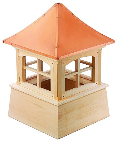 128'' Handcrafted ''Windsor Copper Roof Wooden Cupola by CC Home Furnishings