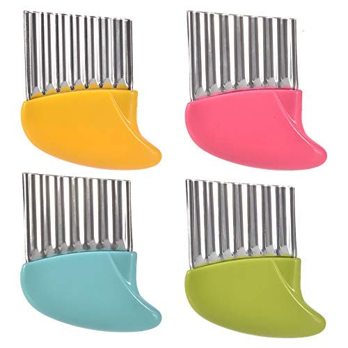 Crinkle Cutter, 4 Pack Potato French Fry Cutter Vegetable and Fruit Wavy Chopper Knife Onion Cutter Slicer Kitchen Salad Gadget Tool Assorted 4 Colors