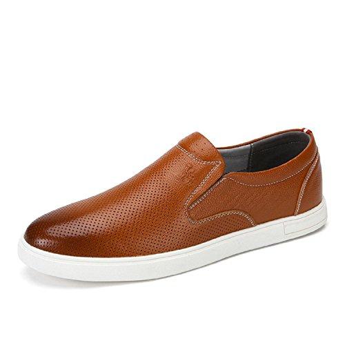 Camel Hombres Slip-on Leather Loafer Ocio Informal Zapato Caqui