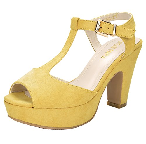 DREAM PAIRS MICHELLE Women's New Evening Wedding High Heels Open Toe Ankle T-Strap Platform Casual Pumps Sandals YELLOW SIZE 10