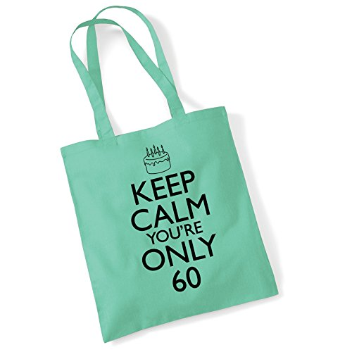 Shopper Birthday Women Bag Bags For Printed Cotton Keep Calm Gifts Mint 60th Tote nwzFpqHH