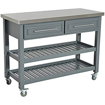 HomCom Country Style Kitchen Island   Rustic Rolling Storage Cart On Wheels  W/ Stainless Steel