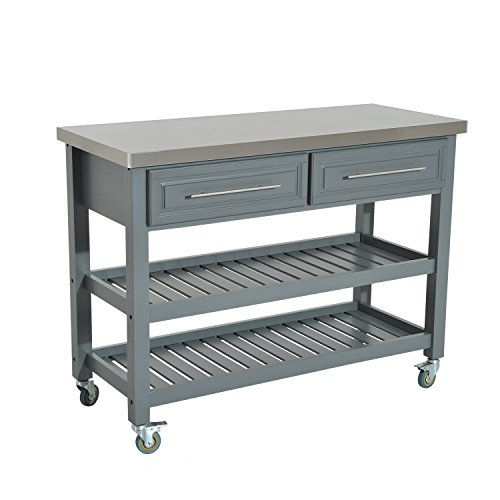 HomCom Country Style Kitchen Island - Rustic Rolling Storage Cart on Wheels w/ Stainless Steel Top