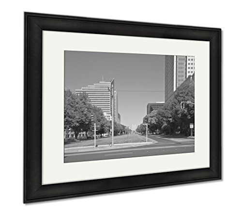 Ashley Framed Prints Downtown Sacramento California Street Scene And Architecture, Wall Art Home Decoration, Black/White, 26x30 (frame size), Black Frame, AG6511261 Museum Black Path Light