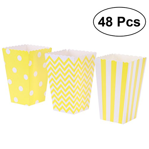 (TOYMYTOY Popcorn Boxes,Cardboard Popcorn Containers for Carnival Party Movie,Yellow,48 Pcs)
