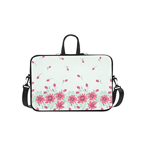 Pretty Vintage Feedsack Border Small Flowers Briefcase Laptop Bag Messenger Shoulder Work Bag Crossbody Handbag for Business Travelling