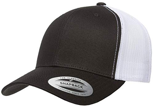 Flexfit/Yupoong Retro Trucker Snapback Cap | Mesh Back, Adjustable Ballcap w/Hat Liner (Black/White)