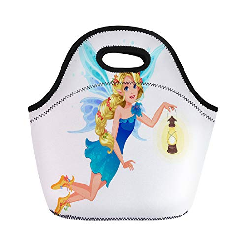 (Semtomn Lunch Tote Bag Beautiful Blonde Blue Wing Fairy Long Braided Hairstyle Holding Reusable Neoprene Insulated Thermal Outdoor Picnic Lunchbox for Men Women)