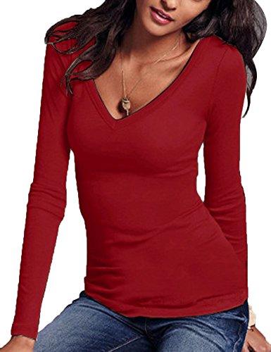Donna In Hahaemma Base Vari Maniche Con Di T Fit Colori shirt Lunga Lunghe Rosso Vino V Manica Scollo A Slim rE1ZqE6w
