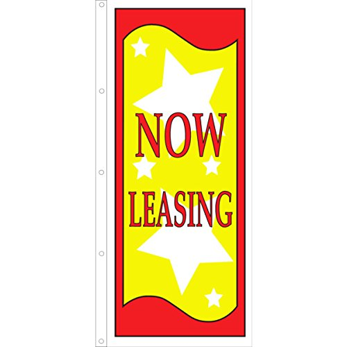 Vertical Now Leasing Flag, Stars, 3' x 8'