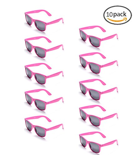 100% UV Protection Wholesale Multi PACK Unisex 80'S Retro Style Promotional Sunglasses, Purple (Pink - Plastic Pink Sunglasses